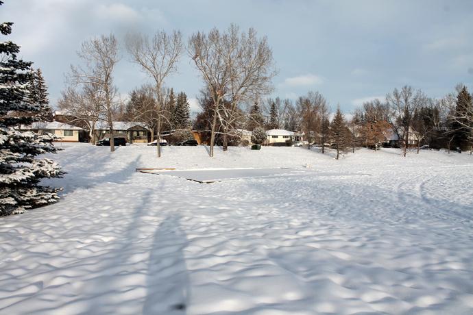 """הפארק מאחורי הבית שלנו, בבוקר סופ""""ש שמשי אחרי לילה של שלג. הזירה מכוסה בשלג טרי - עוד יטאטאו אותה אח""""כ."""