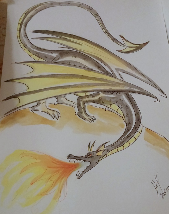 דרקון שחור-זהוב לבקשתו של רום; אתגר מעניין לביצוע עם צבעי מים שלא מתערבבים ומכחולים שיותר מתאימים לדבק