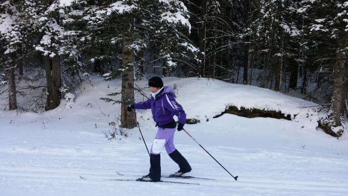 אמתכם הנאמנה מדגימה ריצה קלה, או גלישה, על מגלשי סקי נורדי